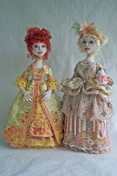 Ladies of the French Court  This is a stump doll, also includes a Ghostie version, also includes a normal color version.  Costumes are patterned after paintings of Maria Antionette and Jeanne Antionette