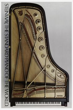 Poster of a grand piano, 1975. Steinway and Sons, New York / Hamburg. Via Cooper Hewitt