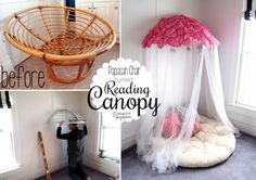 Take an old Papasan Chair, slice it in half, and mount it on the wall with a mosquito net draped over! PERFECT girly canopy or reading nook! {Reality Daydream}