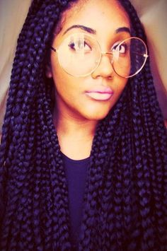 We've gathered our favorite ideas for 65 Box Braids Hairstyles For Black Women, Explore our list of popular images of 65 Box Braids Hairstyles For Black Women in purple hair with braid. Box Braids Hairstyles For Black Women, Braids For Black Hair, Ponytail Hairstyles, Black Hairstyles, Glasses Hairstyles, Hairstyles 2016, Straight Hairstyles, Cornrows, Dreads