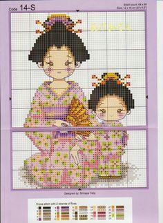 Cross-stitch Little Geishas...(totemo kirei desu nee!)...