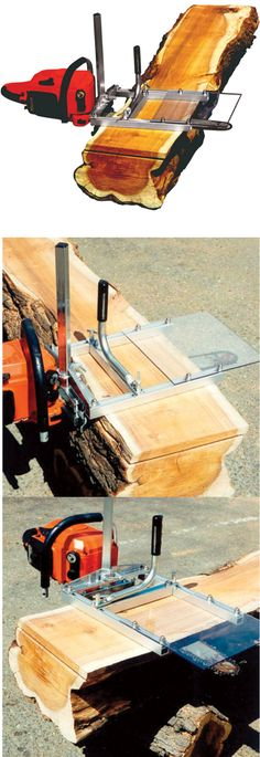 Portable chain saw mill reaches any timber + attaches without drilling.