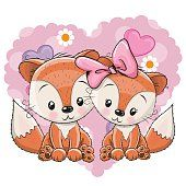Illustration about Two cute Foxes on a background of heart. Illustration of mothers, celebrations, birthday - 70101201 Cute Cartoon Images, Cute Cartoon Girl, Cute Cartoon Animals, Cute Animals, Fuchs Illustration, Cute Animal Illustration, Fox Background, Fox Stock, Cute Clipart