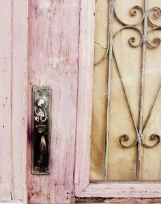 Pink Door Photograph - pastel pale rose pink - cottage chic wall art - rust mocha brown - metal spirals - home decor photography print Old Doors, Windows And Doors, Front Doors, Pink Door, I Believe In Pink, Jolie Photo, Everything Pink, Pink Brown, Cottage Chic