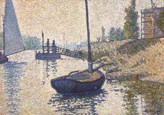 Paul Signac (1863-1935) Le ponton de la Félicité. Asnières (Opus no. 143) signed and dated 'P Signac 86' (lower right) oil on canvas 13 1/8 x 18 3/8 in. (33.4 x 46.7 cm.) Painted in Asnières, October 1886