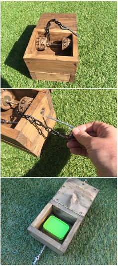 This stout wooden box is locked shut with a combination lock and inside it has two sets of wheels and a pin on a chain. The finder can insert the pin in to a small hole on the outside of the box and rotate the wheels gently until the pin slides inward a little, rotate the second wheel and the pin will slide full home locking the first set of wheels in position and providing the first two digits for the lock. (pics from website combined by IBGeocaching) #IBGCp