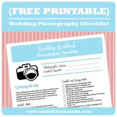 Wedding Workbook Photography Checklist - save our free downloadable Wedding Photography Checklist printable of over 100 must-have photos for your wedding day!