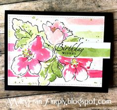 Okay, I& going to be honest here, we& up in Madison, Wisconsin and I can& wait for Fall. It& almost the middle of July and I. Watercolor Cards, Watercolor Flowers, Watercolor Painting, Watercolors, Hibiscus Bouquet, Altenew Cards, Hand Stamped Cards, Card Tutorials, Love Cards