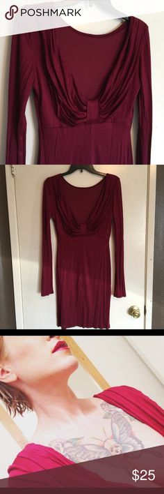 New plunging maroon bodycon dress Soft material. Just a bit to low for me. Medium Dresses Mini