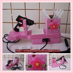 Stand for glue gun . Discussion on LiveInternet - Russian Service Online Diaries Kids Crafts, Space Crafts, Home Crafts, Diy And Crafts, Craft Projects, Arts And Crafts, Craft Room Storage, Craft Organization, Glue Gun Holder