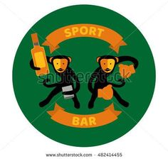 Black monkeys, sport bar beer stand.