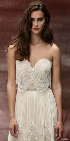 lihi hod bridal 2016 roseberry weding dress illusion strap sweetheart necklin lace top bohemian lace skirt zoom