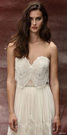 lihi hod bridal 2016 roseberry weding dress illusion strap sweetheart necklin lace top bohemian lace skirt zoom