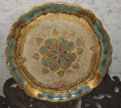 Sweet Vintage French  Gold  n  Blue  Red Gesso Florentine Italian Round Tray. $32.99