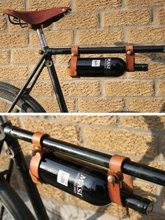 Hand-made winerack for bicycles. Creative and interesting design, but not sure if useful when going bike riding.