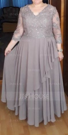 A-Line/Princess V-neck Floor-Length Chiffon Lace Mother of the Bride Dress With Beading Sequins Cascading Ruffles (008107653) - Mother of the Bride Dresses - JJ's House