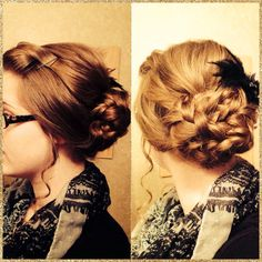 Easy Pentecostal hairstyle. Poof, bump, and two braids twisted together!