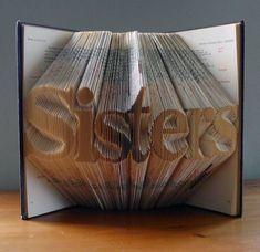 Dit unieke aangepaste boek is gemaakt door zorgvuldig vouwen de afzonderlijke paginas van een boek te spellen het woord zeven letters Sisters. U kunt ook het woord van uw keuze selecteren. Kies uw voornaam, achternaam, uw favoriete woord, alles is mogelijk! Dit boek Sisters is gemaakt met behulp van het lettertype Times. Het lettertype Helvetica is ook beschikbaar. Andere lettertypen kunnen worden gebruikt tegen bijbetaling. Gemaakt van gerecycled boeken, kan elk boek ook worden gemaakt…