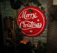 Primitive Antique Vtg Style Decor Retro Red Merry Christmas Bottle Cap Sign Tin #NaivePrimitive