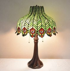 "18""W Peacock Stained Glass Tiffany Style Jeweled Table Desk Lamp, Zinc Base #ArtDeco"