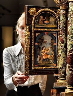 A magnificent Louis XIV gilt-bronze and pietra dura-mounted, ash, ebonised and parcel-gilt cabinet-on-stand. Attributed to Domenico Cucci and the Gobelins workshop, circa 1665-1675. 17½ in. (248 cm.) high. Combining superb Florentine pietre dure plaques with opulent gilt bronze mounts, some intricately worked in repoussé, with modelled figurative carving, this cabinet is a supreme example of the magnificent cabinets produced in Paris in the mid-17th century.  -Christie's- European Furniture, Italian Furniture, French Furniture, Antique Furniture, Painted Furniture, Furniture Design, French Royalty, Marquetry, Les Oeuvres