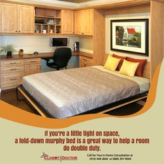 bed in office. Now Offered By The Closet Doctor: 3 Day Murphy Beds. Last Minute Guests  Arriving? Custom Queen Sized Beds In Select Colors. Bed Office