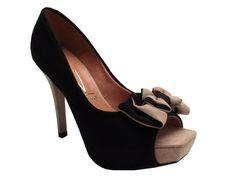 Mônica Shop - Feminino / Sapatos / Salto Alto / Vizzano 1800.107 Sapato Peep Toe Meia Pata com Salto Alto - preto-bege - Vizzano