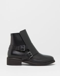 LEATHER ANKLE BOOTS WITH FLAP DETAIL