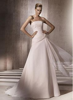 A-line Strapless Ruched Bodice Knotted Drape Ruched Asymmetric Waistline Chiffon Wedding Dress-wa0318, $249.95
