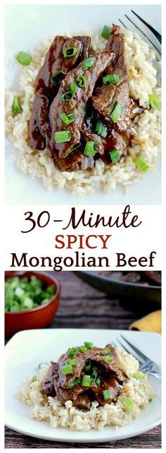 I made this Spicy Mongolian Beef in less than 30 minutes! My family loved it! You can leave out the red pepper flakes for a milder version if you like. You can also use gluten free soy sauce and gluten free hoisin sauce if needed as well. Goes great over rice or noodles with some sliced scallions on top! A perfect, easy recipe for weeknight dinners! | www.DeliciousLittleBites.com