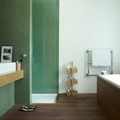 wood and pale green tile looks so serene  Photograph by Joanna Simmons
