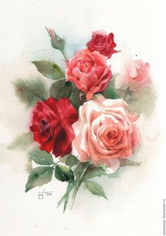 ru / Photo # 14 – But most of all I love, of course … - Blumen Watercolor Rose, Watercolor Print, Watercolor Paintings, Vintage Diy, Vintage Flowers, Tres Belle Photo, Rose Art, Art Floral, Botanical Art