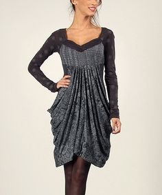 This Anthracite Damask Surplice Bubble Dress is perfect! #zulilyfinds