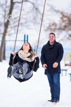 In the Park Swinging [Winter Engagement Photography by Kristen Borelli Photography]