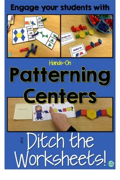 Use hands on patterning centers and put away the worksheets. Your students will be engaged and learning. Teach them to document their work using the Seesaw app. Patterning Kindergarten, Preschool Math, Math Classroom, Kindergarten Activities, Teaching Math, Grade 2 Patterning Activities, Math Games Grade 1, Pattern Worksheets For Kindergarten, Teaching Career