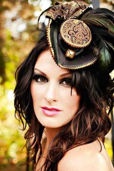 Black, gold, mini hat, gothic, tricorn hat, steampunk fascinators, victorian feather hat, cocktail hat, AS SEEN ON Rock n' Roll Bride
