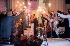 Bride and Groom Wedding Reception Sparkler Exit | Tampa Wedding Venue The Vault