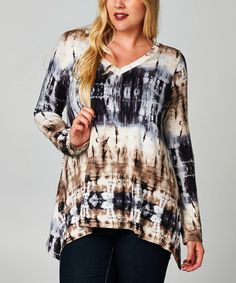 Another great find on #zulily! Black & Taupe Tie-Dye V-Neck Tunic - Plus…
