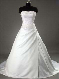 Strapless Scoop Neckline A-line with Beadings Chapel Train Satin Wedding Dress WD1047 www.tidedresses.co.uk $232.0000