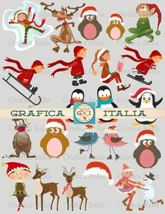 Christmas Clipart  WHIMSICAL Vintage CHRISTMAS by graficaitalia