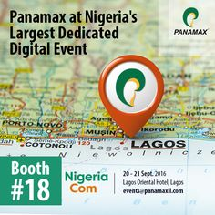 #Panamax team will be present at NigeriaCom on September 20-21!? Are you attending the event? Let's meet! Email events@panamaxil.com #events #telecom #technology #products #africa