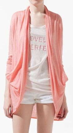 Pink Collarless Long Sleeve Loose Sweater
