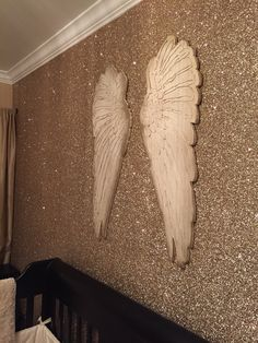 Angel nursery for Hartlyn. Gold glitter wallpaper by GlitterBug in Sand color