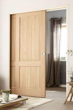 Pour une finition parfaite : Kit d'habillage pour porte coulissante à galandage en bois télescopique Eclisse. Pour porte de largeur : 2 x 63 à 2 x 103 cm. 188 euros l'unité. Leroy Merlin.