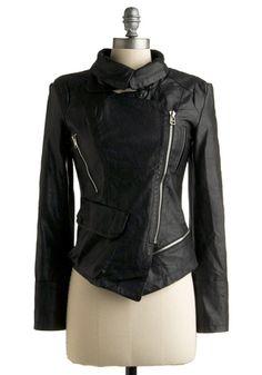 Vegan faux-leather jacket.