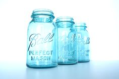 Vintage / Antique Aqua Blue Ball Perfect Mason Jars