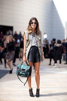 utility vest + leather shorts