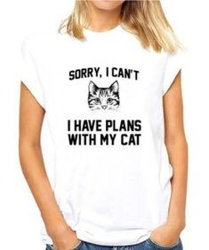 Sorry i cant i have plans with my cat t shirt Silly Cats Pictures, Funny Dog Images, Cat Pictures For Kids, Funny Cat Photos, Funny Cat Memes, Funny Cats, Cat Paw Print, Scared Cat, Cat Silhouette