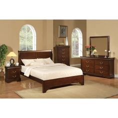 Beautiful high sleigh headboard and low footboard.    Transitional styling in a rich cappuccino finish.  Set includes sleigh bed, dresser, nightstand and mirror.