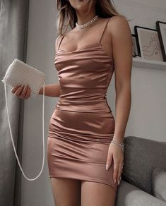 Homecoming Dresses Tight, Cute Prom Dresses, Prom Outfits, Tight Dresses, Elegant Dresses, Pretty Dresses, Satin Dresses, Night Out Dresses, Tight Skirt Outfit